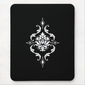 Diamond Damask, White on Black Mouse Pad