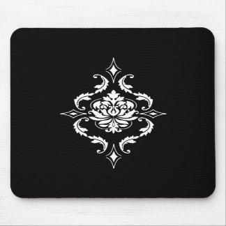 Diamond Damask, White on Black Mousepads