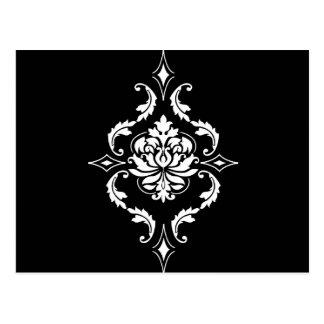 Diamond Damask, White on Black Postcard