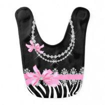 Diamond Delilah Zebra (Pink) Baby Bib