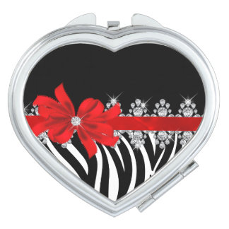 Diamond Delilah Zebra (Red) Makeup Mirror