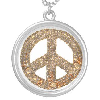 Diamond Design Peace Sign Jewlery Silver Plated Necklace