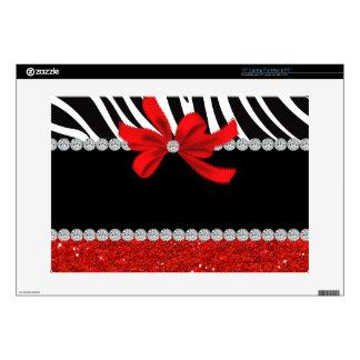 "Diamond Diva (red glitter) Decals For 15"" Laptops"