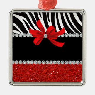 Diamond Diva (red glitter) Metal Ornament