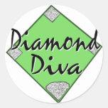 Diamond Diva Softball Round Sticker