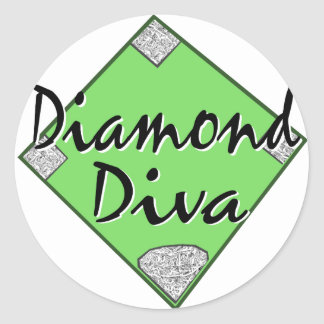 Diamond Diva Softball Classic Round Sticker