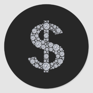 Diamond Dollar Sign Bling Classic Round Sticker