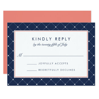 Diamond Dot RSVP Card | Coral and Navy