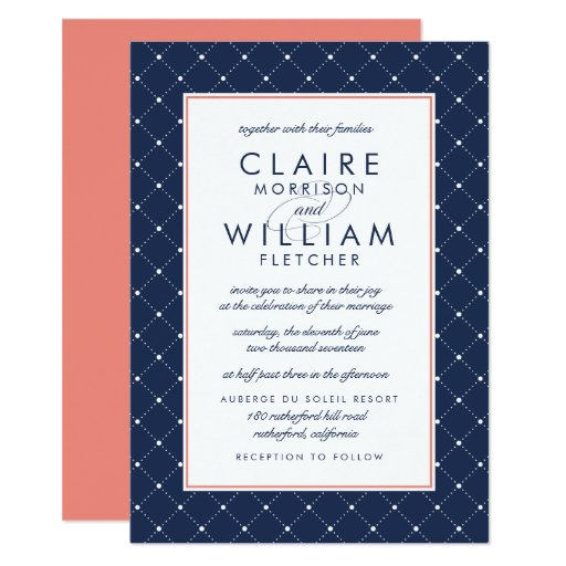 navy and coral wedding invitations dot wedding invitation coral and navy zazzle 6112