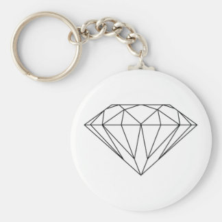 Diamond Drawing Black and White Modern Keychain