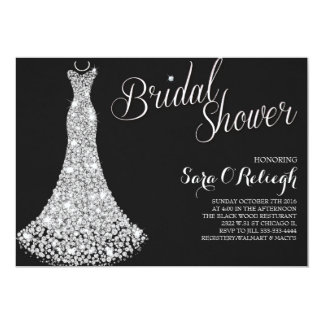 Diamond dress Bridal shower glitz & glam black Card