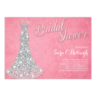 Diamond dress Bridal shower glitz & glam pink Card