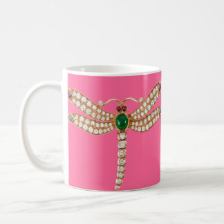 Diamond Emeralds and Gold Dragonfly Coffee Mugs