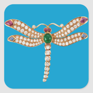 Diamond Emeralds and Gold Dragonfly Square Stickers