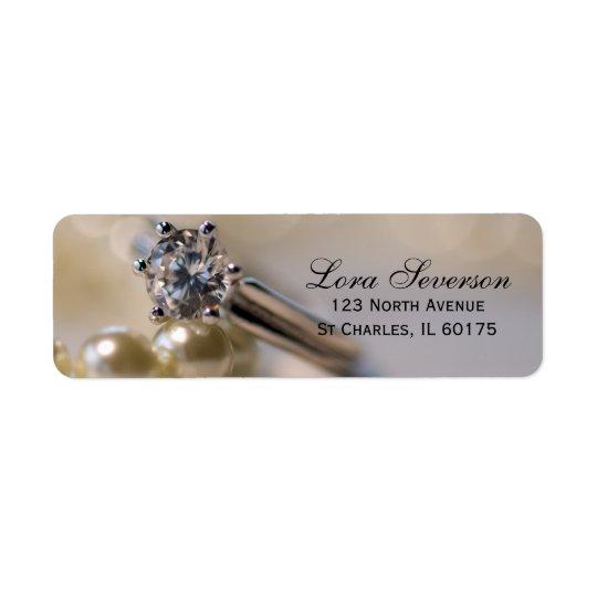 Diamond Engagement Ring and Pearls Return Address Label