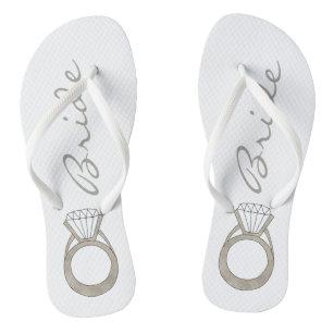 e64147e98678f Diamond Engagement Ring Bling Wedding BRIDE Flip Flops