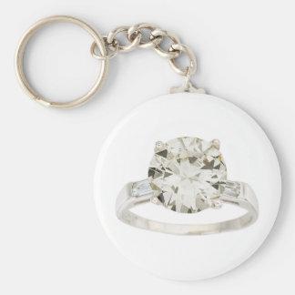 Diamond Engagement Ring Hint Hint Basic Round Button Keychain