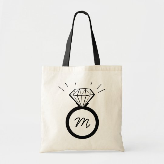 Diamond Engagement Ring monogram tote bag