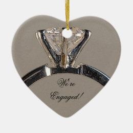 Diamond Engagement Ring on Gray Ceramic Ornament