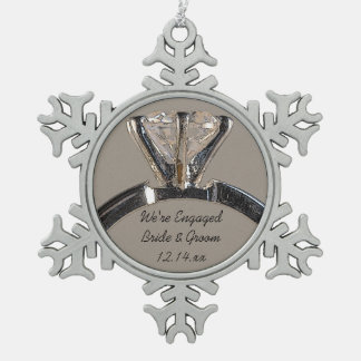 Diamond Engagement Ring on Gray Snowflake Pewter Christmas Ornament