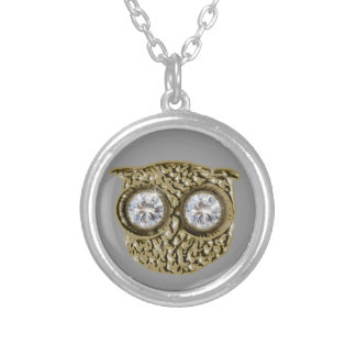 Diamond eyes Owl jewel Silver Plated Necklace