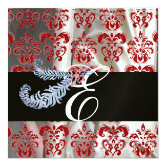 DIAMOND FEATHER RED WHITE ICE SILK DAMASK MONOGRAM CARD