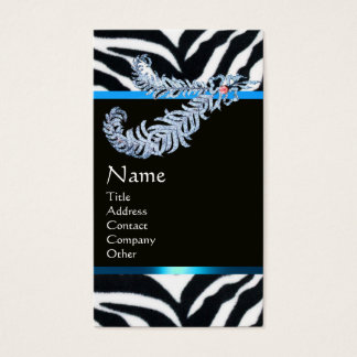 DIAMOND FEATHERS BLUE BLACK WHITE ZEBRA FUR BUSINESS CARD