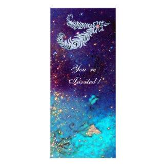 DIAMOND FEATHERS blue turquase green sparkles Invitation