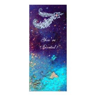 DIAMOND FEATHERS ,blue turquase green sparkles Invitation