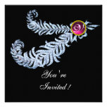 DIAMOND FEATHERS MONOGRAM ,red ruby ,pink Personalized Invitation