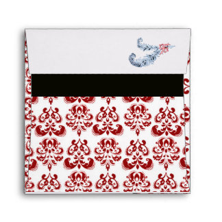 DIAMOND FEATHERS RED BLACK AND WHITE DAMASK ENVELOPE