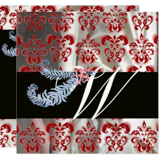 DIAMOND FEATHERS RED SILVER SILK DAMASK MONOGRAM CARD