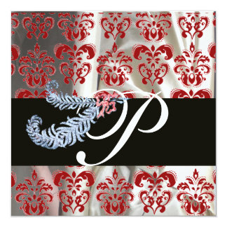 DIAMOND FEATHERS RED WHITE SILK DAMASK MONOGRAM CARD