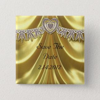 Diamond Fleurette & Satin Gold Button