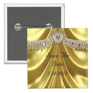 Diamond Fleurette & Satin Gold Pin