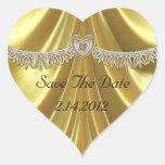 Diamond Fleurette & Satin Gold Heart Stickers
