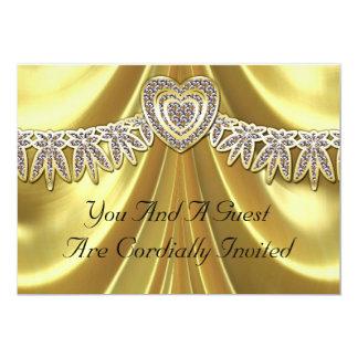 Diamond Fleurette & Satin Gold 5x7 Paper Invitation Card