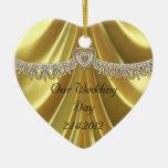 Diamond Fleurette & Satin Gold Christmas Tree Ornaments