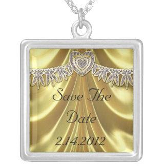 Diamond Fleurette & Satin Gold Silver Plated Necklace