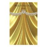 Diamond Fleurette & Satin Gold Stationery Paper
