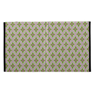 Diamond Floral Damask Pattern IBN Pink and Green iPad Case