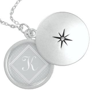 Diamond Florettes with Monogram Round Locket Necklace