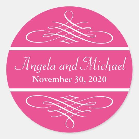 Diamond Flourish Wedding Labels (Dark Pink)