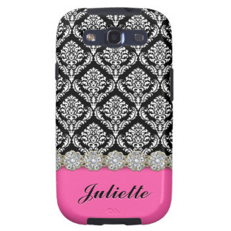 Diamond Flower Black White Damask Pattern Samsung Galaxy SIII Cover