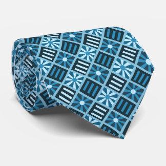 Diamond Flower Geometric Teal Single-sided Tie