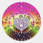 Diamond Fractal Round Stickers