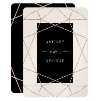 Diamond Gemstone Geometric Modern Wedding Invite
