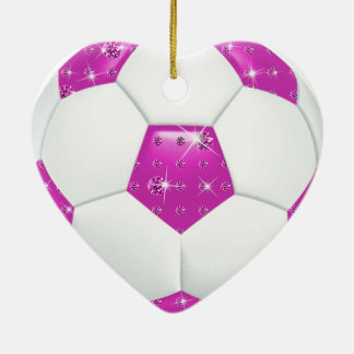 Diamond Gemstones Aqua and Pink Soccer Ball Ceramic Ornament