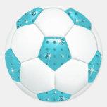 Diamond Gemstones Aqua Soccer Ball Classic Round Sticker