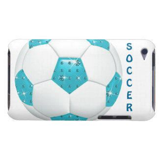 Diamond Gemstones Aqua Soccer Ball iPod Touch Cover